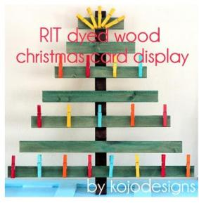 Tree shaped dyed wood card display