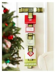 Hang pretty cards with ribbon for a festive display!